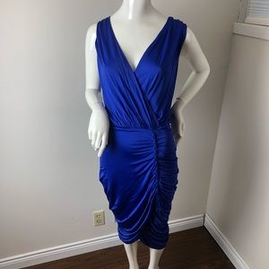 Le Chateau Bodycon Dress Blue Ruched Draped XL